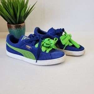 Puma Suede Classic Sneakers Blue Green Size 10.5